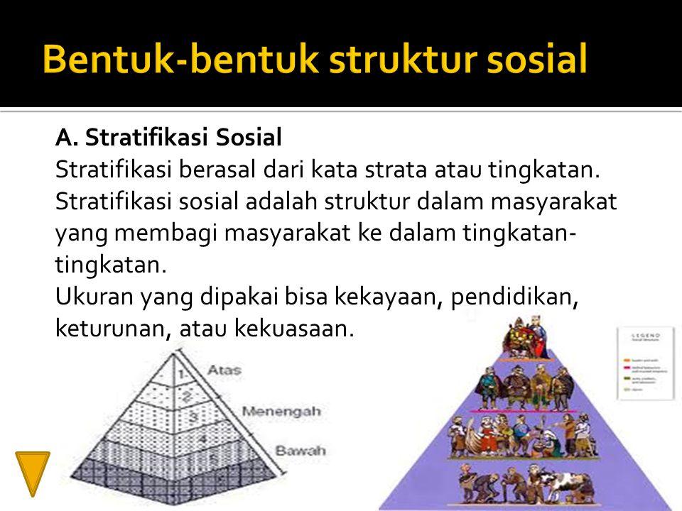 A. Stratifikasi Sosial Stratifikasi berasal dari kata strata atau tingkatan. Stratifikasi sosial adalah struktur dalam masyarakat yang membagi masyara