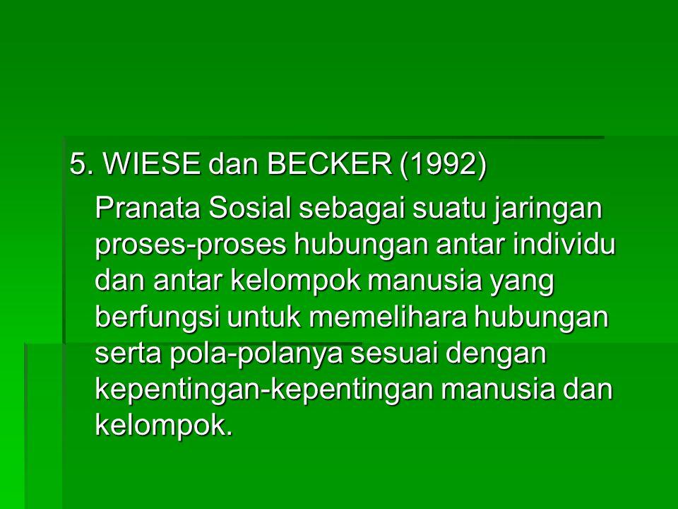 5. WIESE dan BECKER (1992) Pranata Sosial sebagai suatu jaringan proses-proses hubungan antar individu dan antar kelompok manusia yang berfungsi untuk