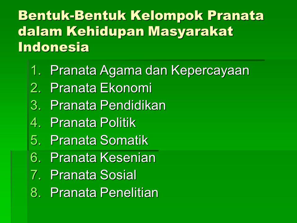Bentuk-Bentuk Kelompok Pranata dalam Kehidupan Masyarakat Indonesia 1.Pranata Agama dan Kepercayaan 2.Pranata Ekonomi 3.Pranata Pendidikan 4.Pranata P