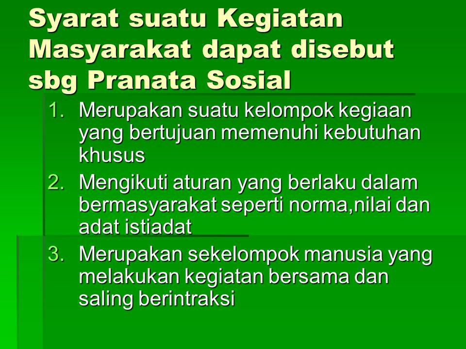 Syarat suatu Kegiatan Masyarakat dapat disebut sbg Pranata Sosial 1.Merupakan suatu kelompok kegiaan yang bertujuan memenuhi kebutuhan khusus 2.Mengik