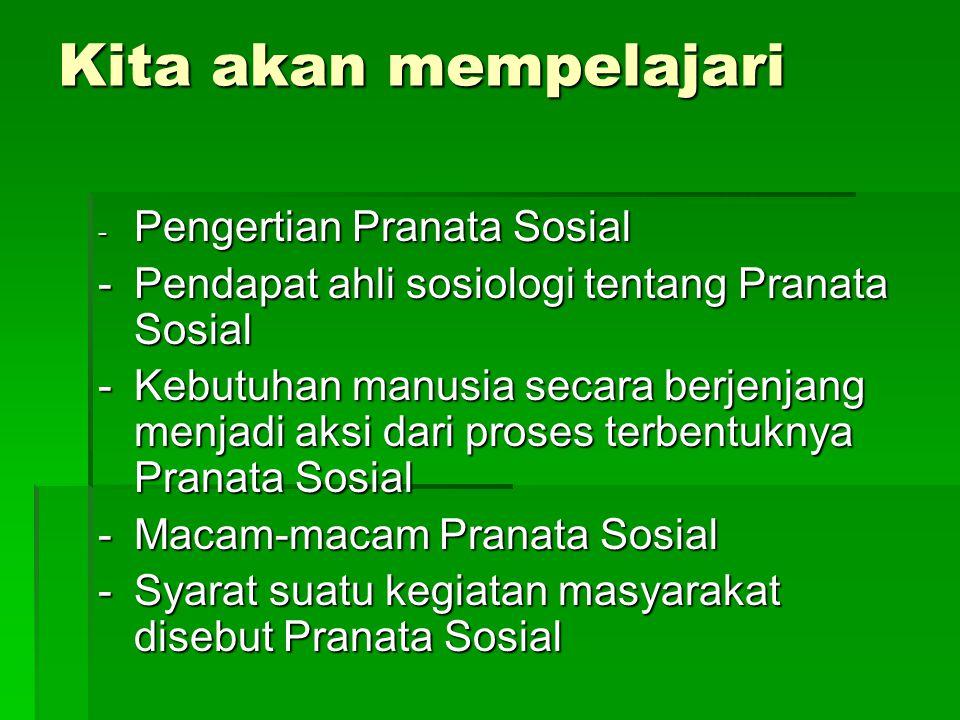 Pengertian Pranata Sosial Pranata adalah seperangkat aturan yang berkaitan dengan kegiatan atau kebutuhan sosial tertentu Sosial adalah segala sesuatu mengenai masyarakat dan kepedulian terhadap kepentingan umum