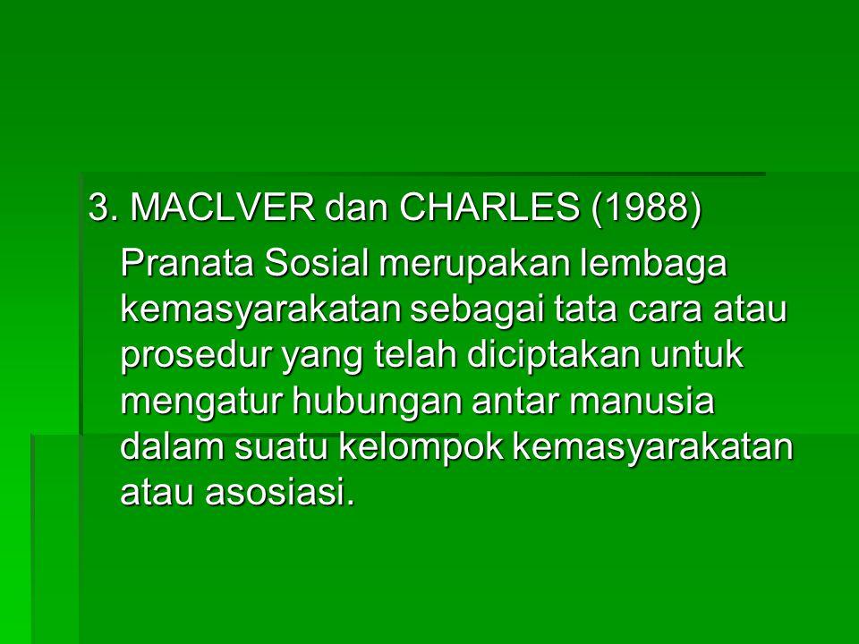 3. MACLVER dan CHARLES (1988) Pranata Sosial merupakan lembaga kemasyarakatan sebagai tata cara atau prosedur yang telah diciptakan untuk mengatur hub