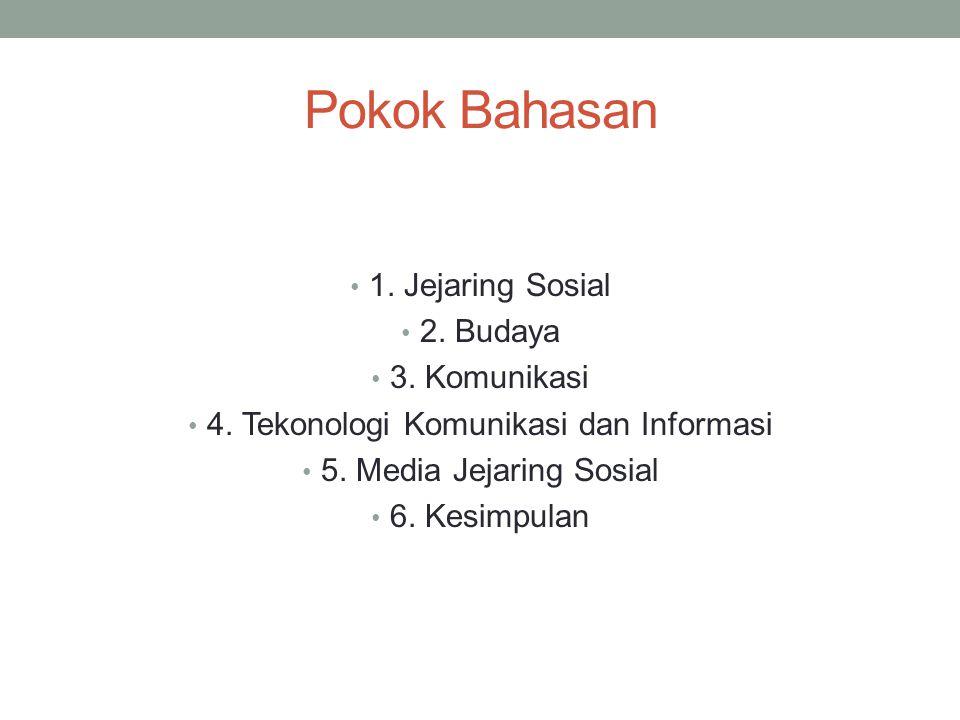 Pokok Bahasan 1. Jejaring Sosial 2. Budaya 3. Komunikasi 4. Tekonologi Komunikasi dan Informasi 5. Media Jejaring Sosial 6. Kesimpulan
