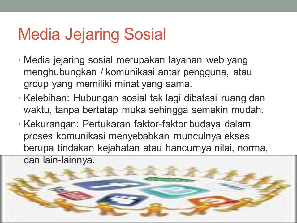 Media Jejaring Sosial Media jejaring sosial merupakan layanan web yang menghubungkan / komunikasi antar pengguna, atau group yang memiliki minat yang