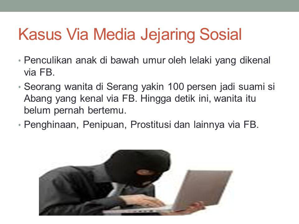 Kasus Via Media Jejaring Sosial Penculikan anak di bawah umur oleh lelaki yang dikenal via FB. Seorang wanita di Serang yakin 100 persen jadi suami si