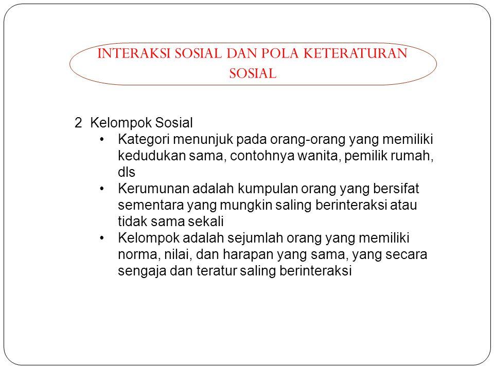 INTERAKSI SOSIAL DAN POLA KETERATURAN SOSIAL 2 Kelompok Sosial Kategori menunjuk pada orang-orang yang memiliki kedudukan sama, contohnya wanita, pemi