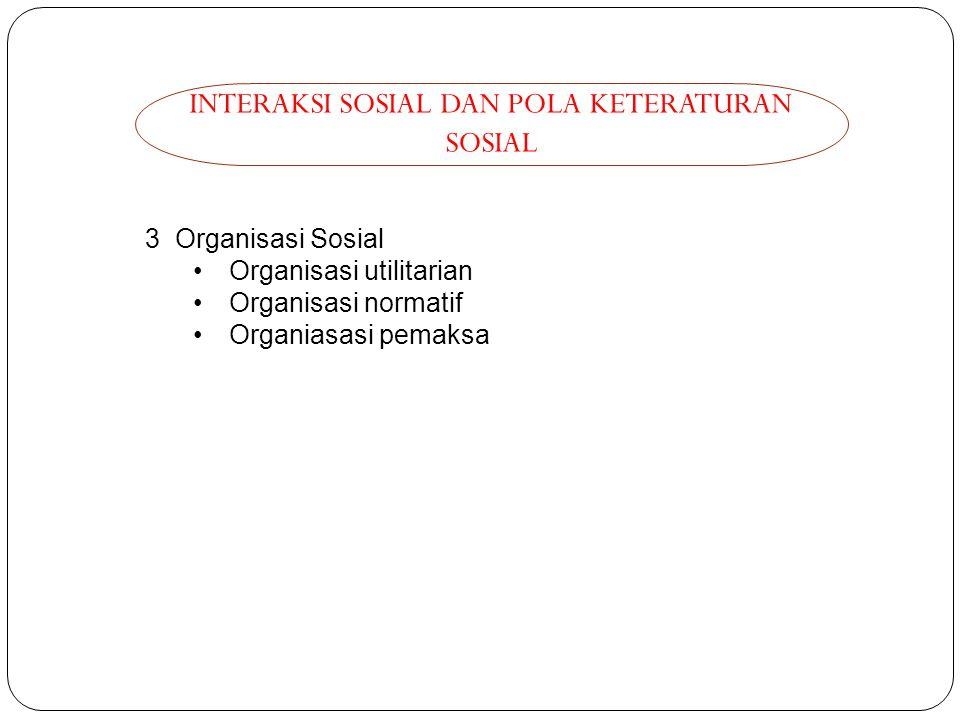 INTERAKSI SOSIAL DAN POLA KETERATURAN SOSIAL 3 Organisasi Sosial Organisasi utilitarian Organisasi normatif Organiasasi pemaksa