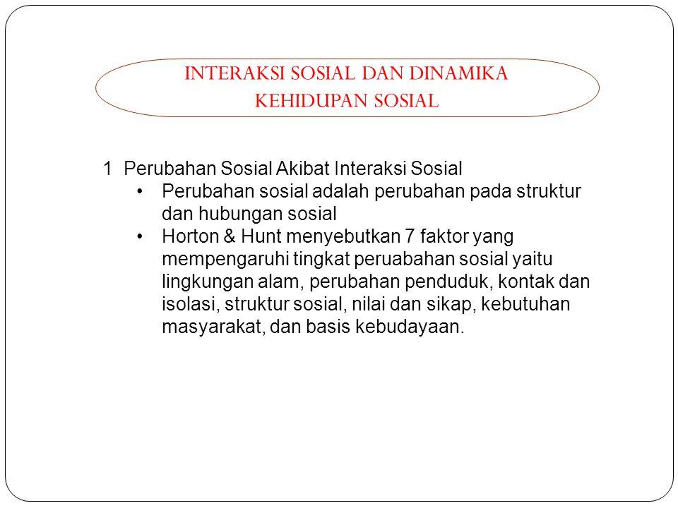 INTERAKSI SOSIAL DAN DINAMIKA KEHIDUPAN SOSIAL 1 Perubahan Sosial Akibat Interaksi Sosial Perubahan sosial adalah perubahan pada struktur dan hubungan