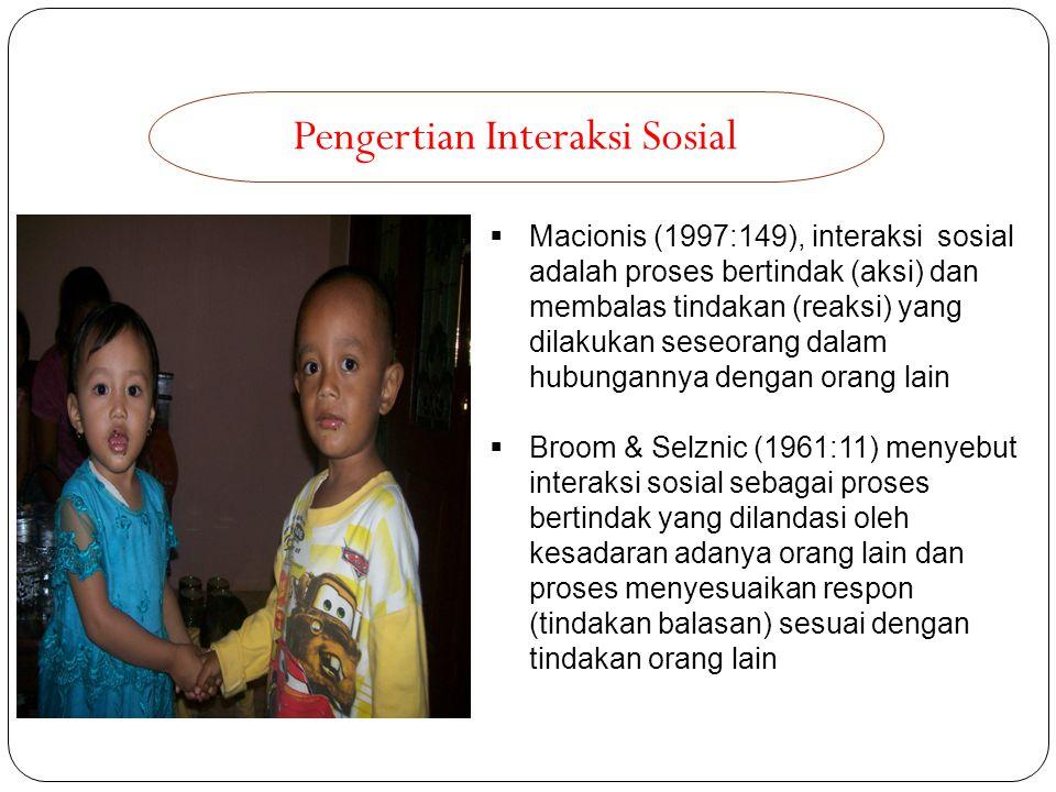 Pengertian Interaksi Sosial  Macionis (1997:149), interaksi sosial adalah proses bertindak (aksi) dan membalas tindakan (reaksi) yang dilakukan seseo