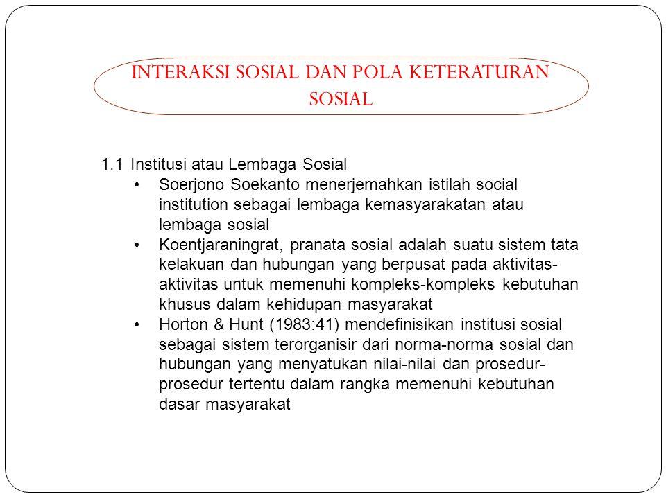 INTERAKSI SOSIAL DAN POLA KETERATURAN SOSIAL 1.1 Institusi atau Lembaga Sosial Soerjono Soekanto menerjemahkan istilah social institution sebagai lemb