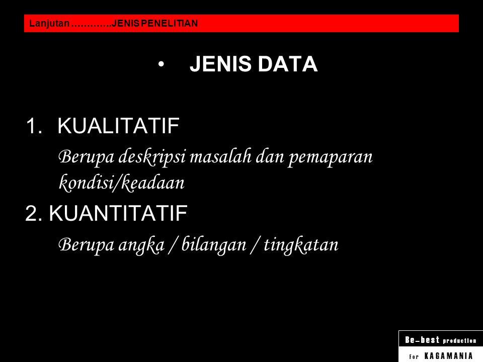 F o r K A G A M A N I A B e – b e s t p r o d u c t I o n Lanjutan ………….JENIS PENELITIAN SUMBER DATA 1.POPULASI Mengambil data dari seluruh subjek pen