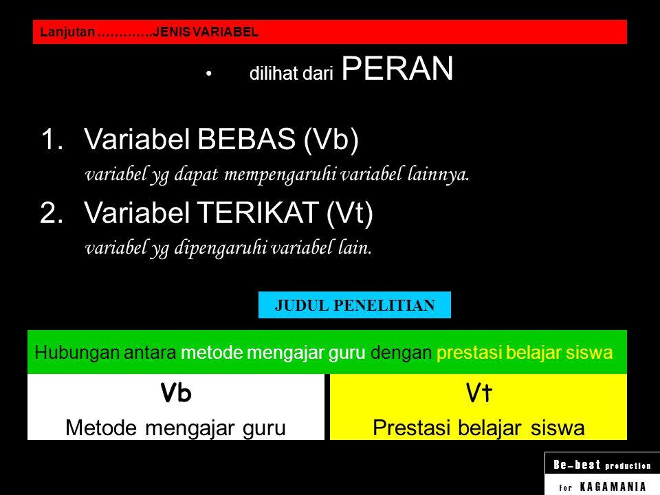 F o r K A G A M A N I A B e – b e s t p r o d u c t I o n Lanjutan ………….JENIS VARIABEL dilihat dari JENIS DATA KUALITATIF 1.Variabel DISKRIT variabel