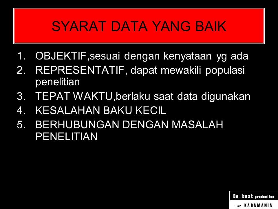 F o r K A G A M A N I A B e – b e s t p r o d u c t I o n Pengertian DATA 1.Fakta atau keterangan tentang sesuatu yang dibutuhkan dalam penelitian 2.K