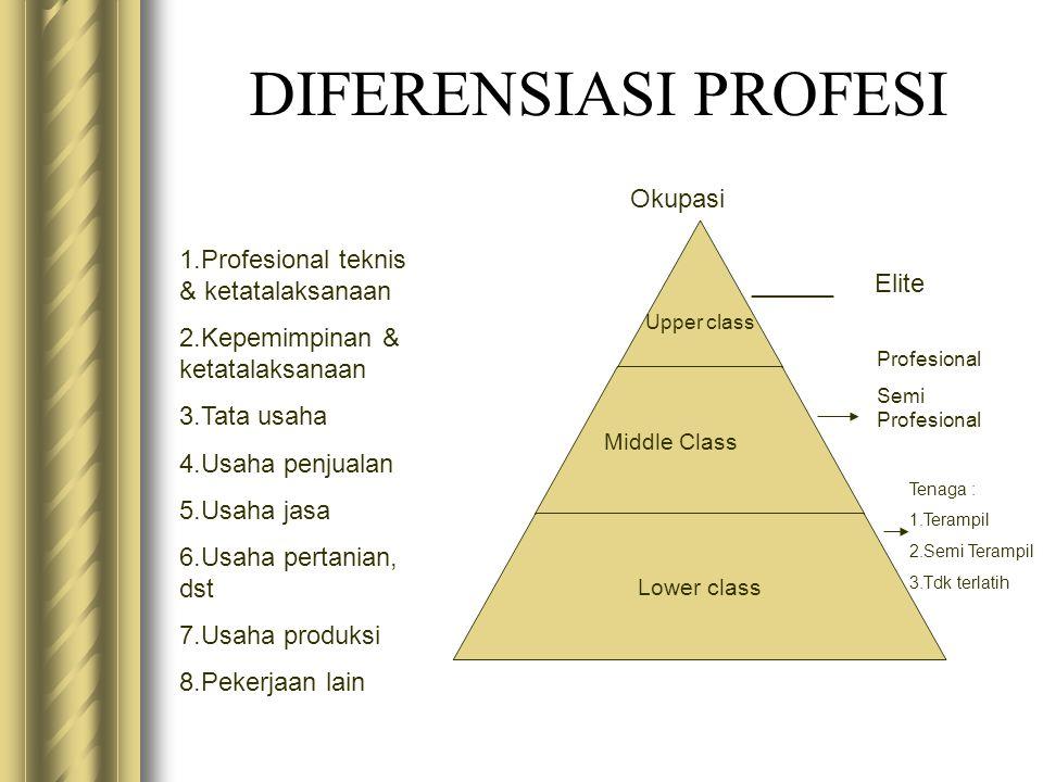 DIFERENSIASI PROFESI Okupasi 1.Profesional teknis & ketatalaksanaan 2.Kepemimpinan & ketatalaksanaan 3.Tata usaha 4.Usaha penjualan 5.Usaha jasa 6.Usa