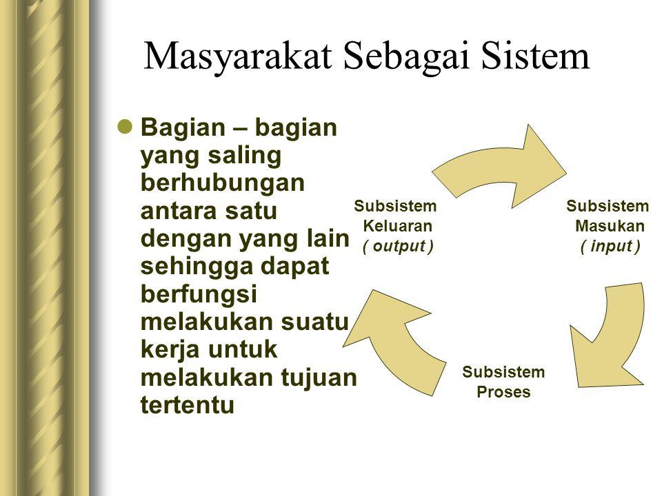 Masyarakat Sebagai Sistem Bagian – bagian yang saling berhubungan antara satu dengan yang lain sehingga dapat berfungsi melakukan suatu kerja untuk me