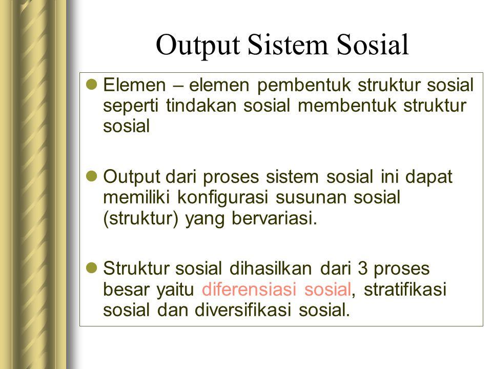 Output Sistem Sosial Elemen – elemen pembentuk struktur sosial seperti tindakan sosial membentuk struktur sosial Output dari proses sistem sosial ini