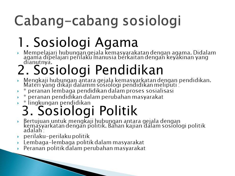 1. Sosiologi Agama  Mempelajari hubungan gejala kemasyarakatan dengan agama. Didalam agama dipelajari perilaku manusia berkaitan dengan keyakinan yan
