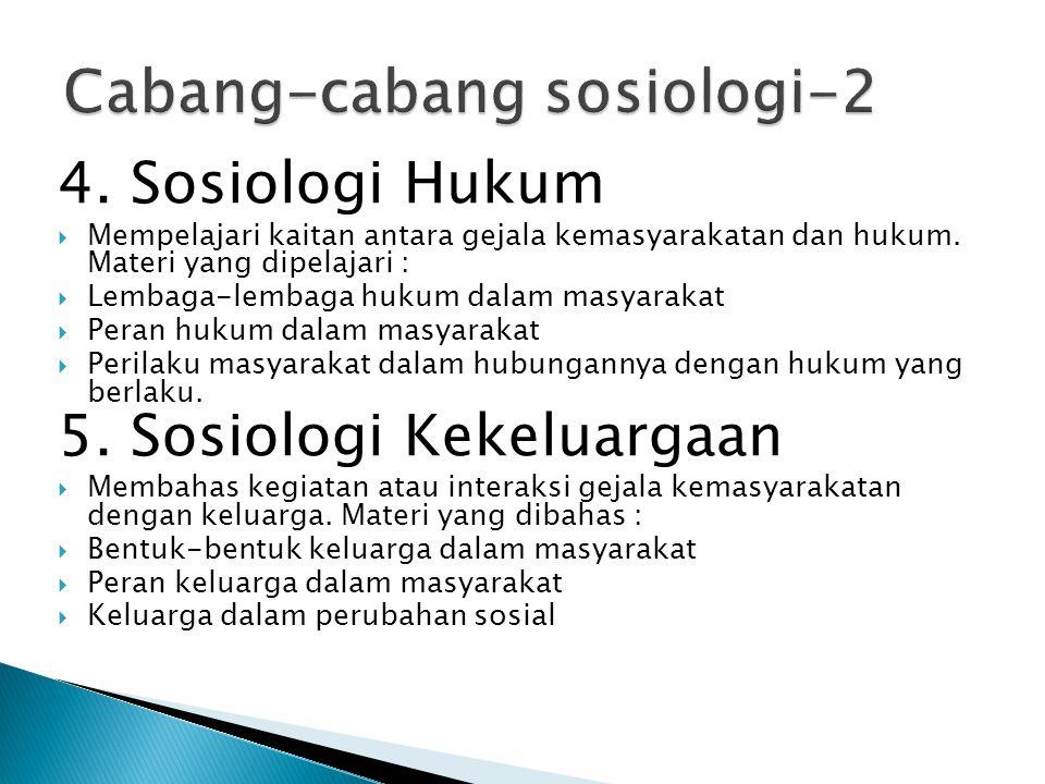 4. Sosiologi Hukum  Mempelajari kaitan antara gejala kemasyarakatan dan hukum. Materi yang dipelajari :  Lembaga-lembaga hukum dalam masyarakat  Pe
