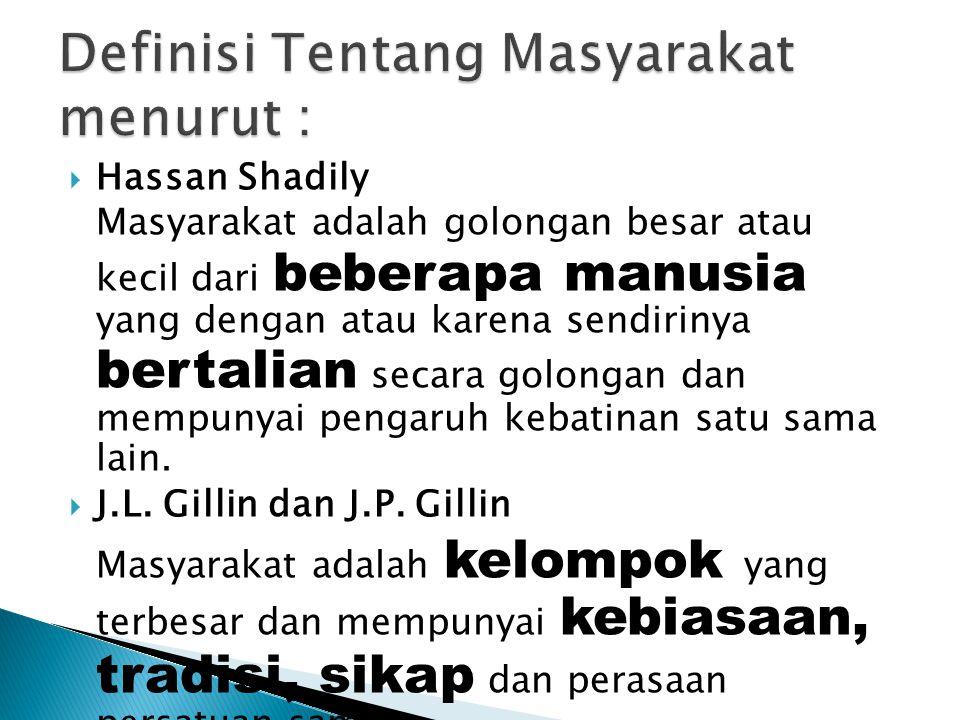  Hassan Shadily Masyarakat adalah golongan besar atau kecil dari beberapa manusia yang dengan atau karena sendirinya bertalian secara golongan dan me