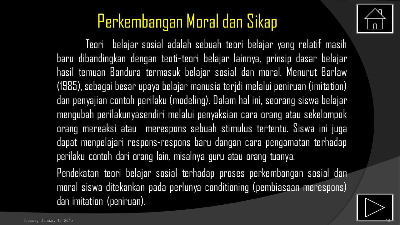 Perkembangan Moral dan Sikap Teori belajar sosial adalah sebuah teori belajar yang relatif masih baru dibandingkan dengan teoti-teori belajar lainnya, prinsip dasar belajar hasil temuan Bandura termasuk belajar sosial dan moral.