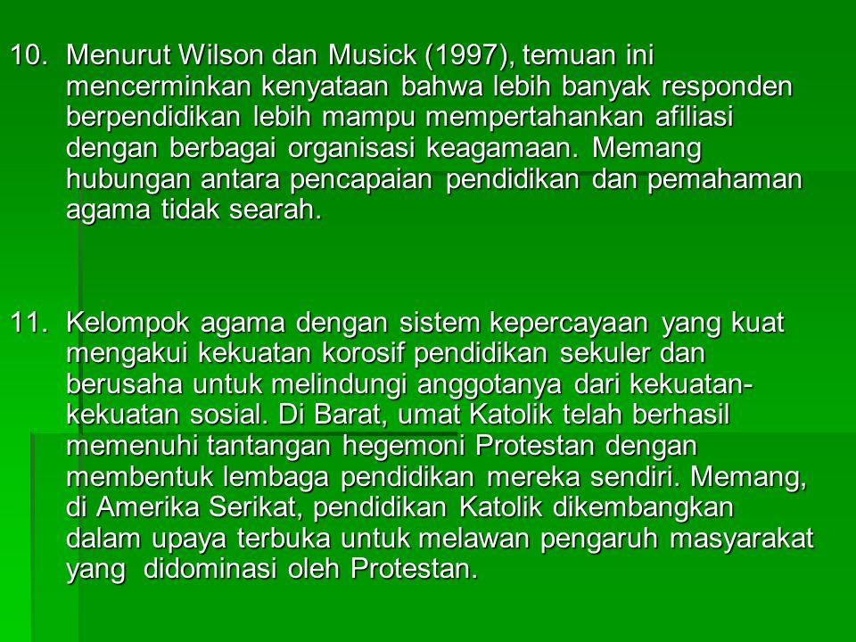 10.Menurut Wilson dan Musick (1997), temuan ini mencerminkan kenyataan bahwa lebih banyak responden berpendidikan lebih mampu mempertahankan afiliasi