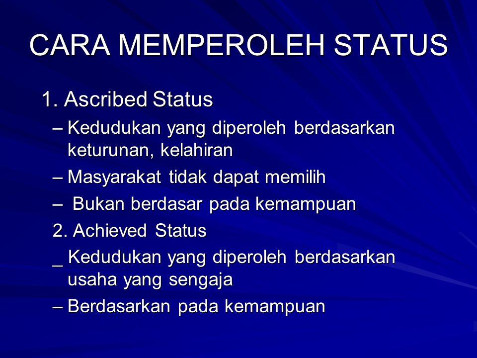 CARA MEMPEROLEH STATUS 1. Ascribed Status 1. Ascribed Status –Kedudukan yang diperoleh berdasarkan keturunan, kelahiran –Masyarakat tidak dapat memili