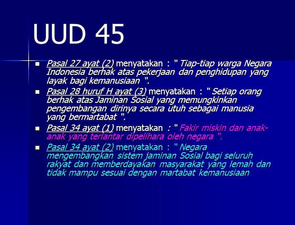 Pasal 27 ayat (2) menyatakan : Tiap-tiap warga Negara Indonesia berhak atas pekerjaan dan penghidupan yang layak bagi kemanusiaan .