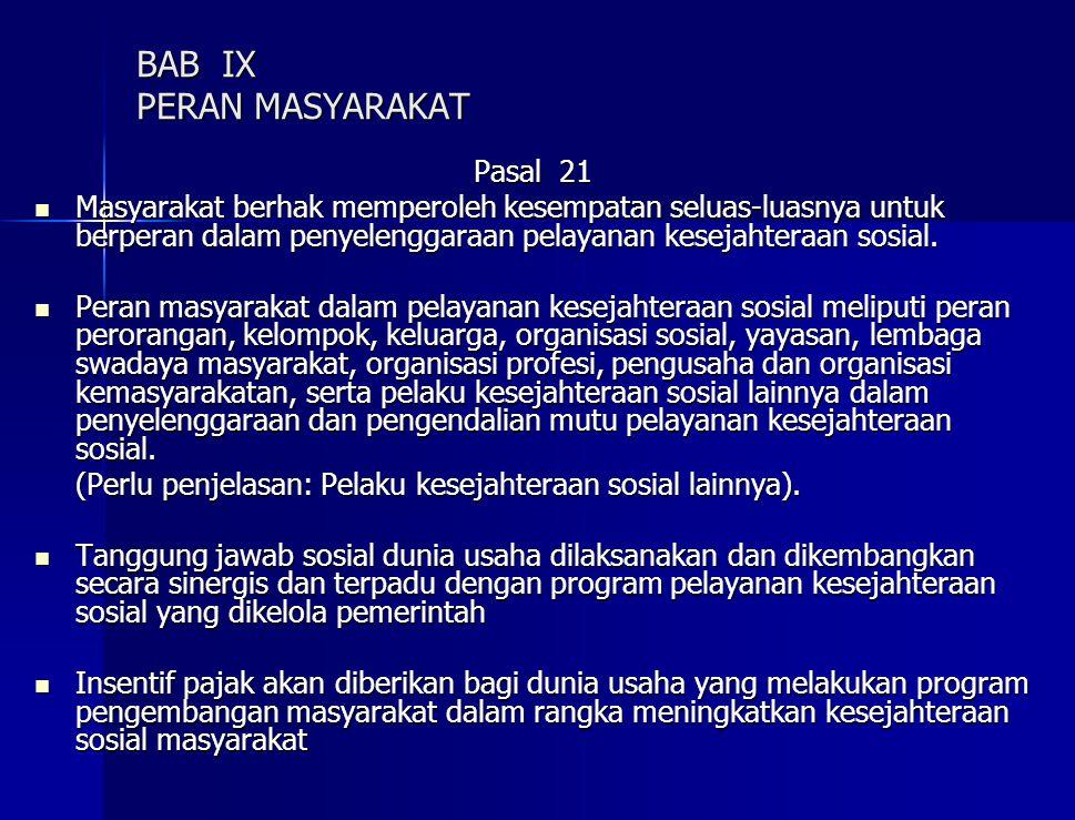 BAB IX PERAN MASYARAKAT Pasal 21 Masyarakat berhak memperoleh kesempatan seluas-luasnya untuk berperan dalam penyelenggaraan pelayanan kesejahteraan sosial.