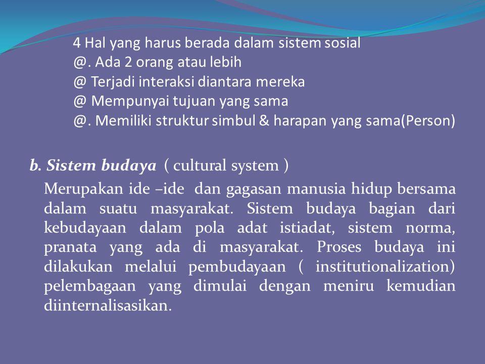 4 Hal yang harus berada dalam sistem sosial @. Ada 2 orang atau lebih @ Terjadi interaksi diantara mereka @ Mempunyai tujuan yang sama @. Memiliki str