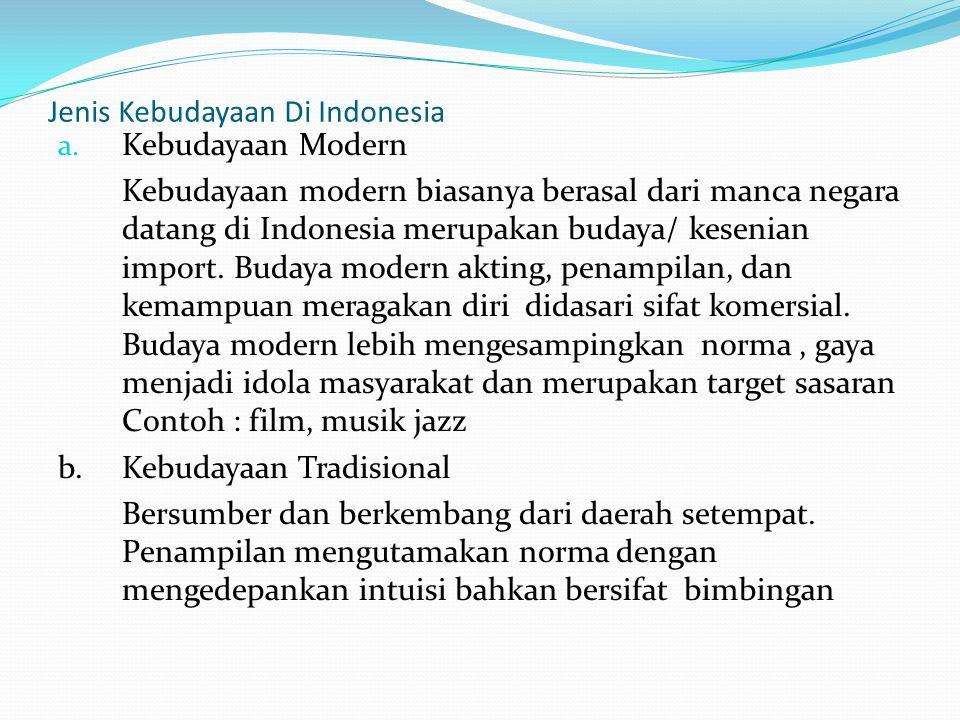 Jenis Kebudayaan Di Indonesia a. Kebudayaan Modern Kebudayaan modern biasanya berasal dari manca negara datang di Indonesia merupakan budaya/ kesenian