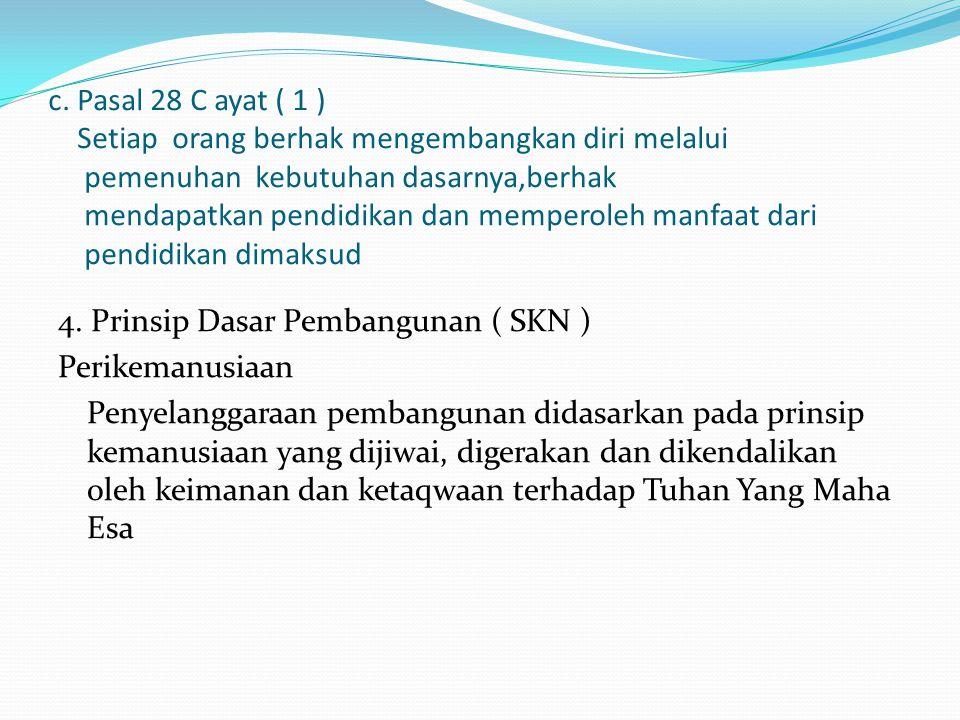 c. Pasal 28 C ayat ( 1 ) Setiap orang berhak mengembangkan diri melalui pemenuhan kebutuhan dasarnya,berhak mendapatkan pendidikan dan memperoleh manf