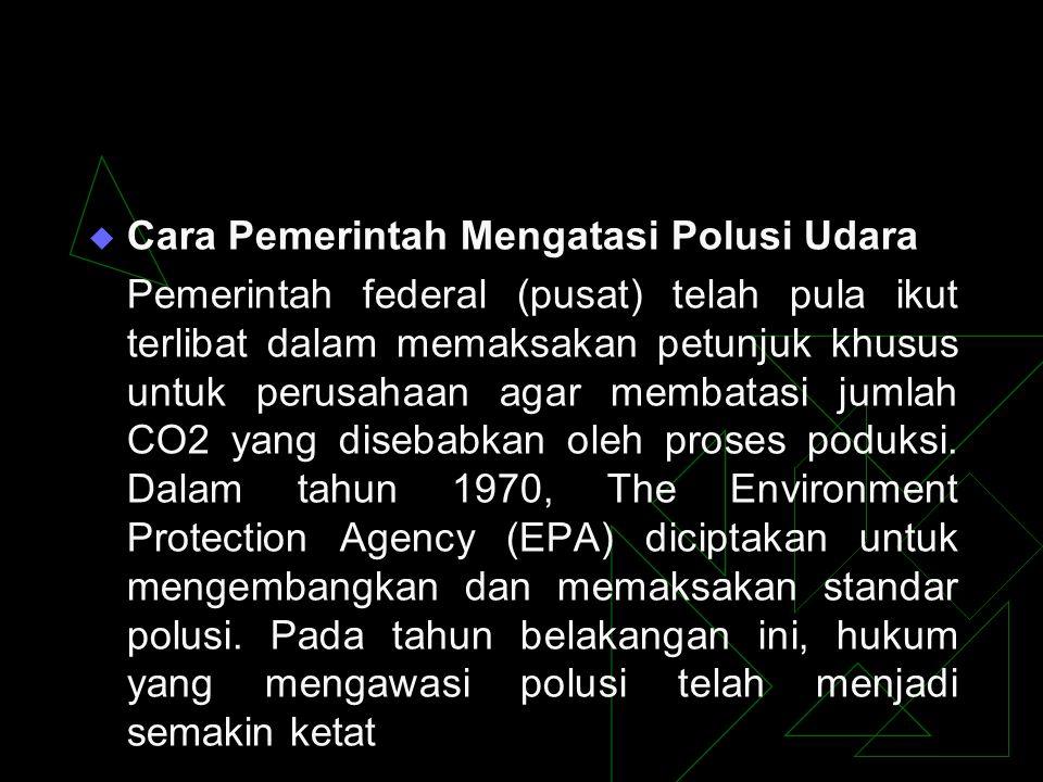  Cara Pemerintah Mengatasi Polusi Udara Pemerintah federal (pusat) telah pula ikut terlibat dalam memaksakan petunjuk khusus untuk perusahaan agar me