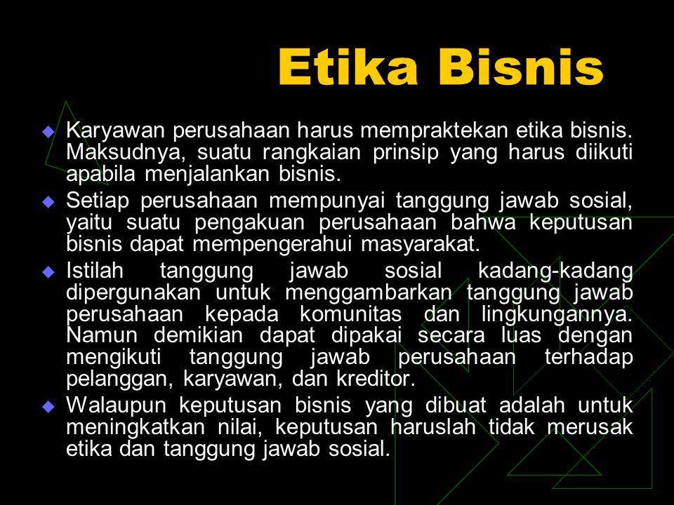 Akibat Keputusan- Keputusan Yang Tidak Etis Di bawah ini contoh keputusan bisnis yang tidak etis : 1.