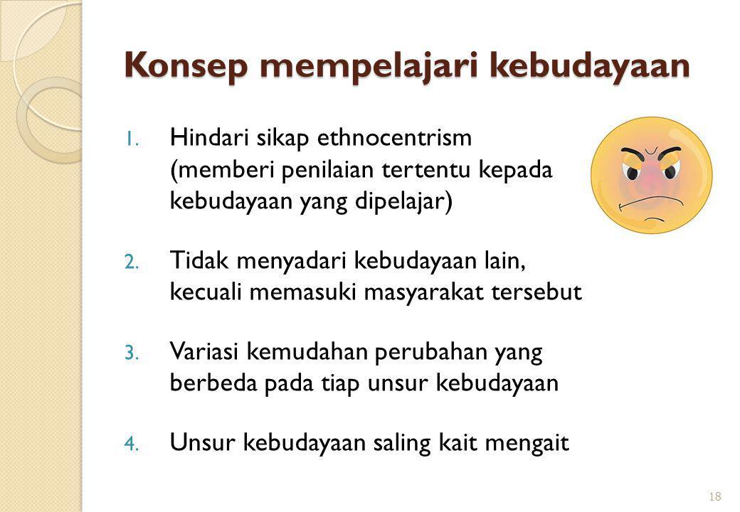 Konsep mempelajari kebudayaan 1. Hindari sikap ethnocentrism (memberi penilaian tertentu kepada kebudayaan yang dipelajar) 2. Tidak menyadari kebudaya