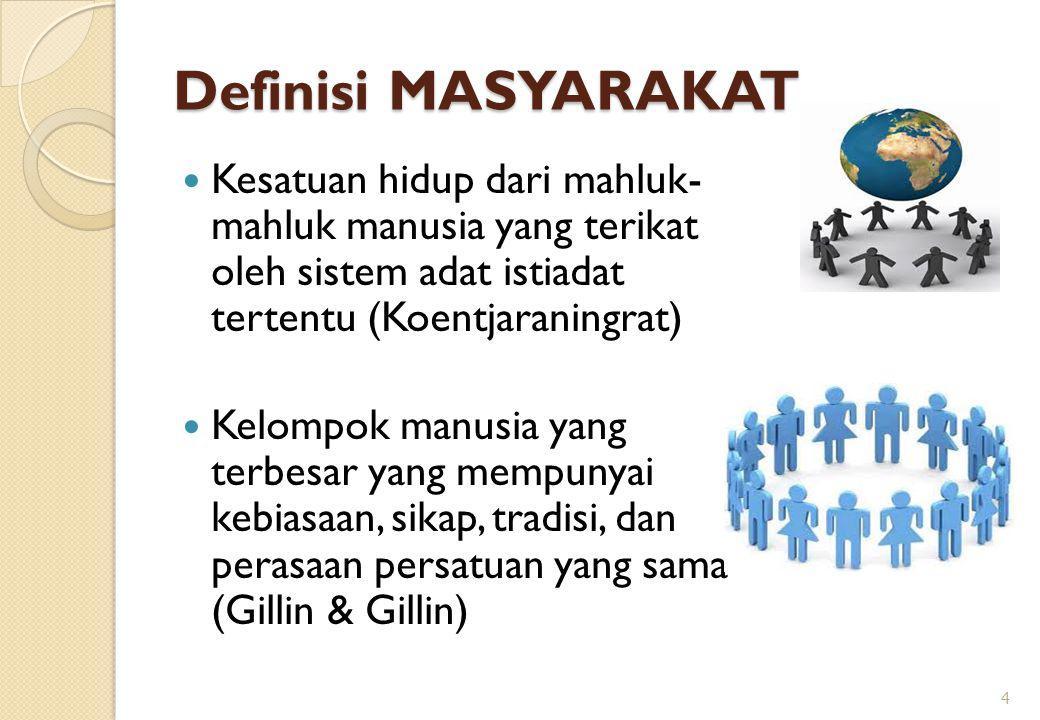 Definisi MASYARAKAT Kesatuan hidup dari mahluk- mahluk manusia yang terikat oleh sistem adat istiadat tertentu (Koentjaraningrat) Kelompok manusia yan