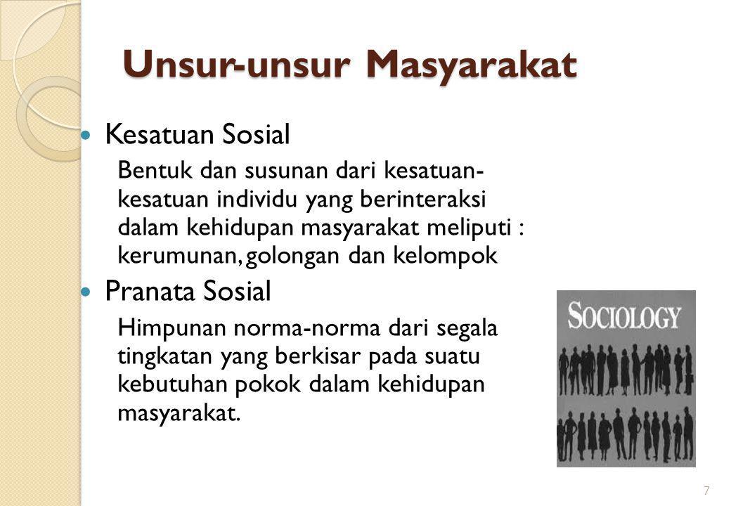 Unsur-unsur Masyarakat Kesatuan Sosial Bentuk dan susunan dari kesatuan- kesatuan individu yang berinteraksi dalam kehidupan masyarakat meliputi : ker
