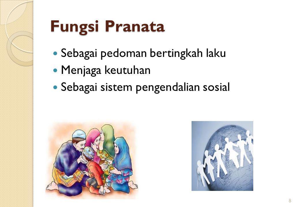 Fungsi Pranata Sebagai pedoman bertingkah laku Menjaga keutuhan Sebagai sistem pengendalian sosial 8