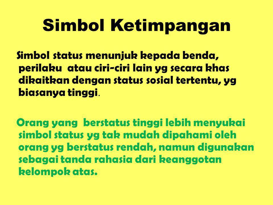 Simbol Ketimpangan Simbol status menunjuk kepada benda, perilaku atau ciri-ciri lain yg secara khas dikaitkan dengan status sosial tertentu, yg biasan