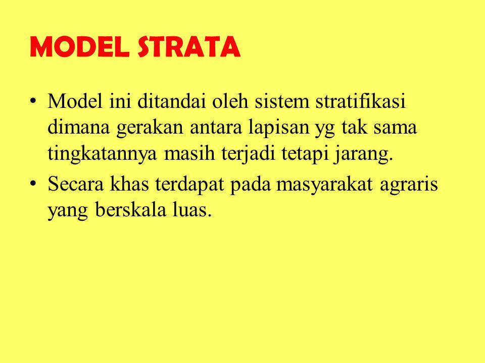MODEL STRATA Model ini ditandai oleh sistem stratifikasi dimana gerakan antara lapisan yg tak sama tingkatannya masih terjadi tetapi jarang. Secara kh