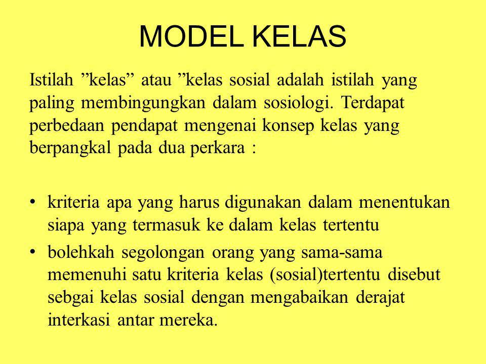 "MODEL KELAS Istilah ""kelas"" atau ""kelas sosial adalah istilah yang paling membingungkan dalam sosiologi. Terdapat perbedaan pendapat mengenai konsep k"