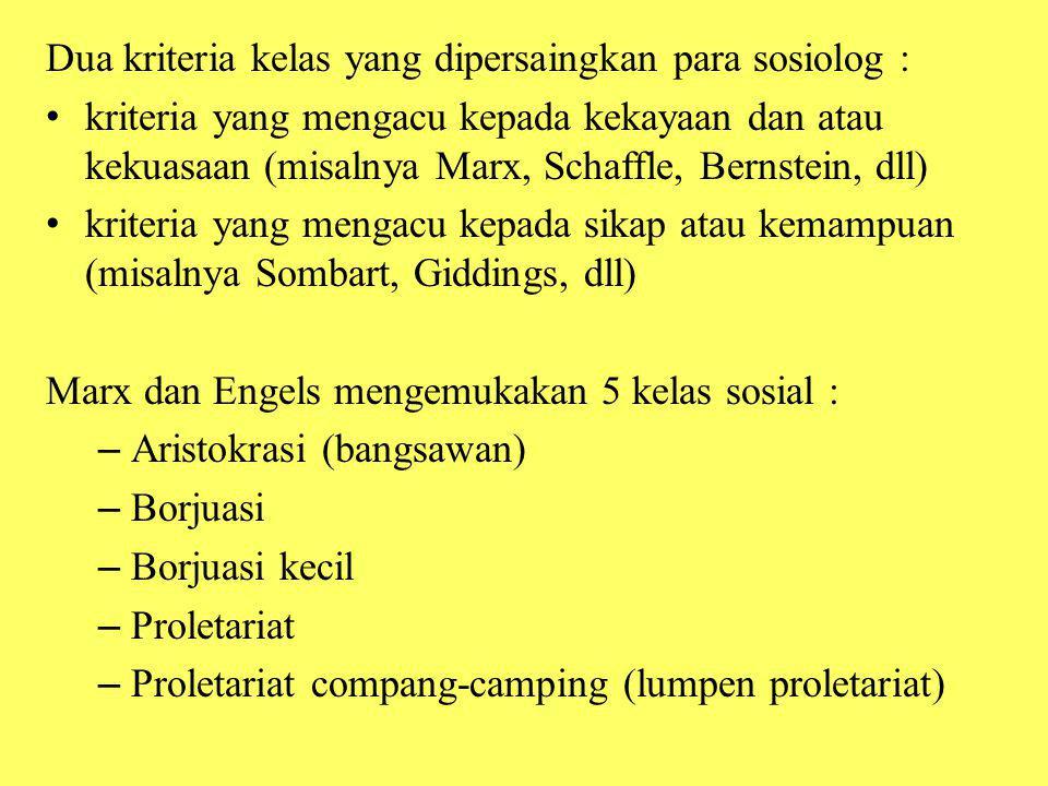Dua kriteria kelas yang dipersaingkan para sosiolog : kriteria yang mengacu kepada kekayaan dan atau kekuasaan (misalnya Marx, Schaffle, Bernstein, dl