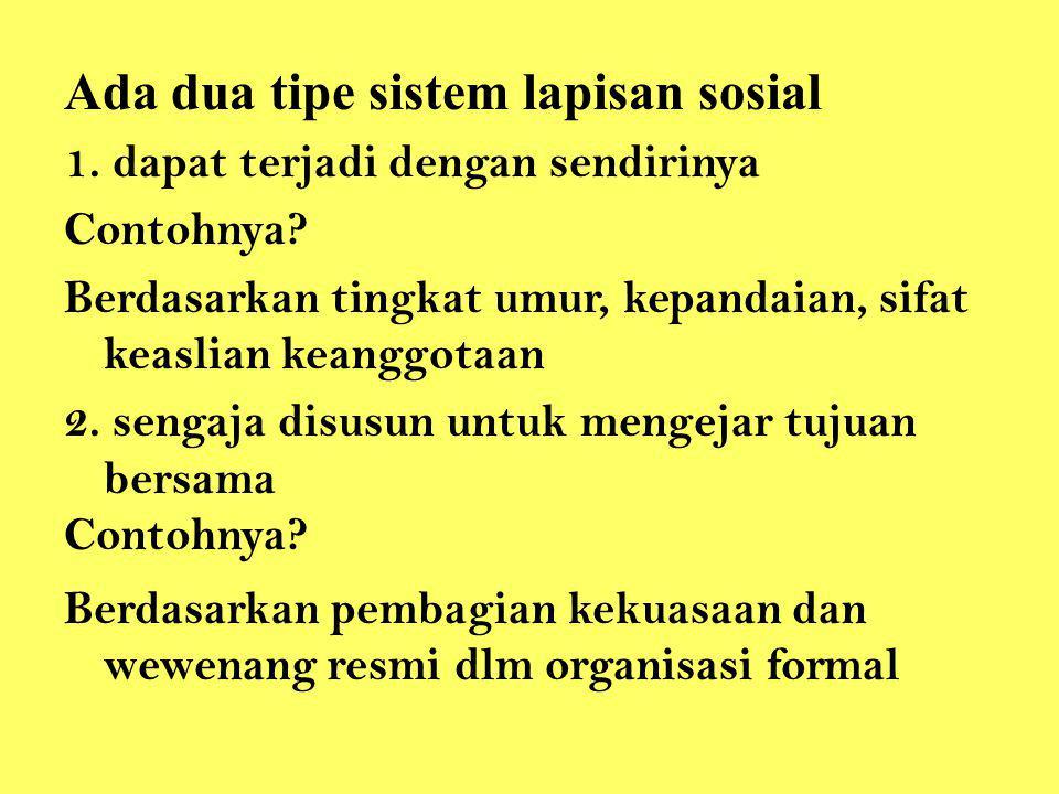 Ada dua tipe sistem lapisan sosial 1. dapat terjadi dengan sendirinya Contohnya? Berdasarkan tingkat umur, kepandaian, sifat keaslian keanggotaan 2. s
