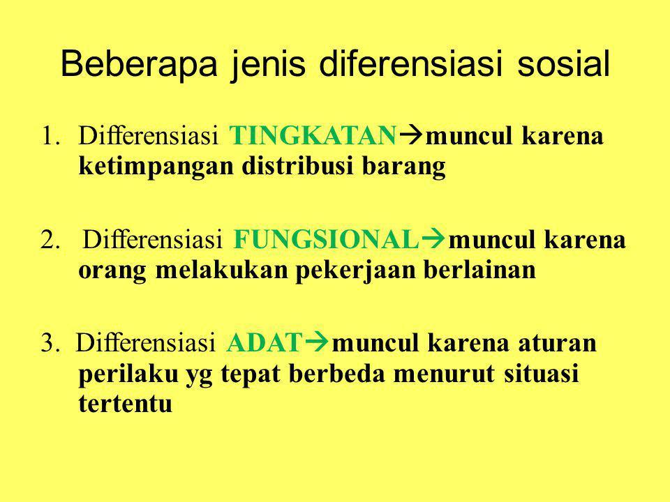Beberapa jenis diferensiasi sosial 1.Differensiasi TINGKATAN  muncul karena ketimpangan distribusi barang 2. Differensiasi FUNGSIONAL  muncul karena