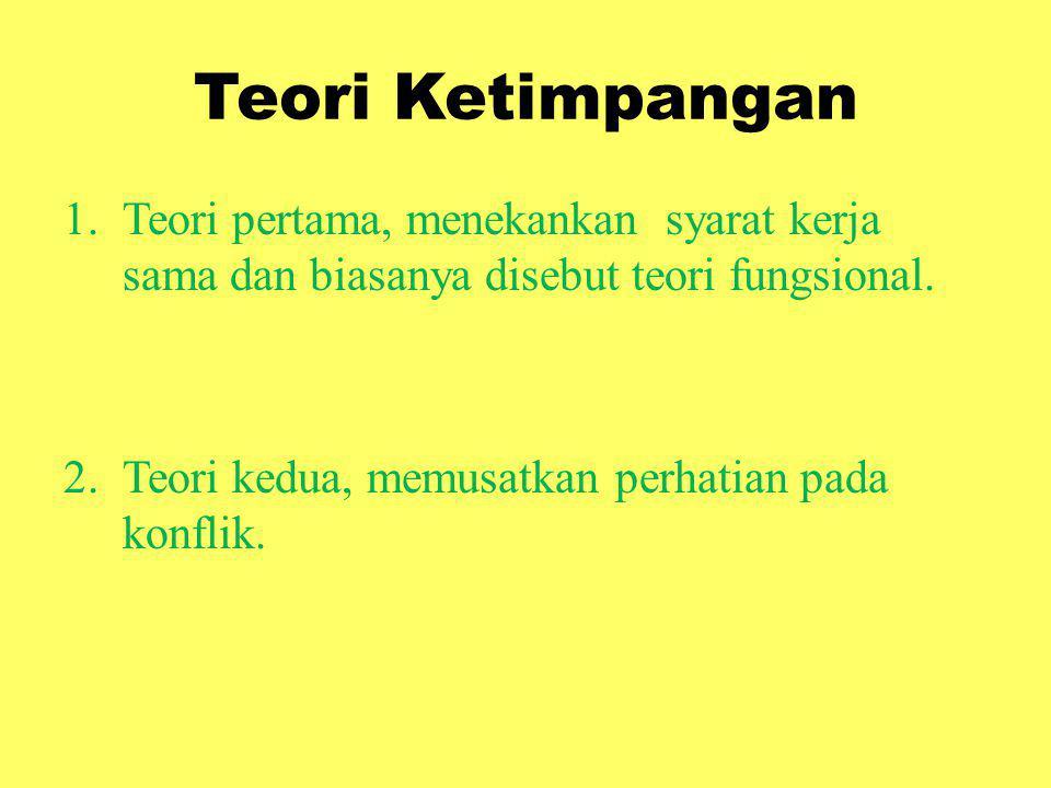 Teori Ketimpangan 1.Teori pertama, menekankan syarat kerja sama dan biasanya disebut teori fungsional. 2.Teori kedua, memusatkan perhatian pada konfli