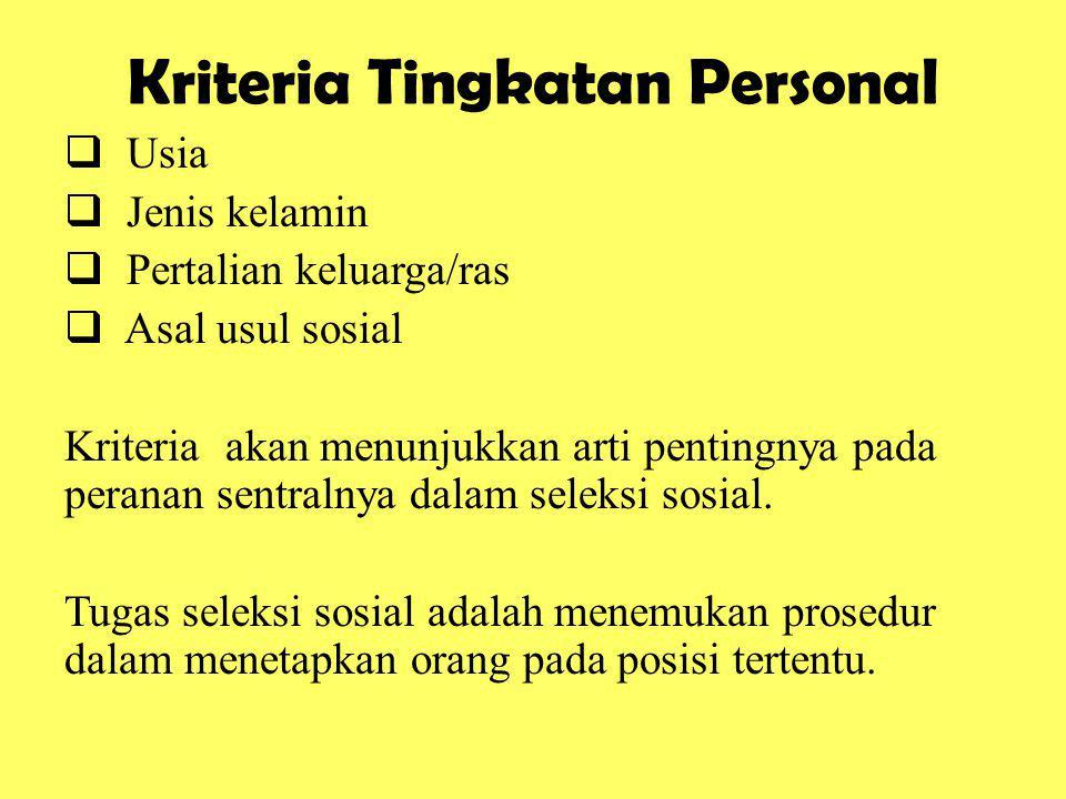 Kriteria Tingkatan Personal  Usia  Jenis kelamin  Pertalian keluarga/ras  Asal usul sosial Kriteria akan menunjukkan arti pentingnya pada peranan