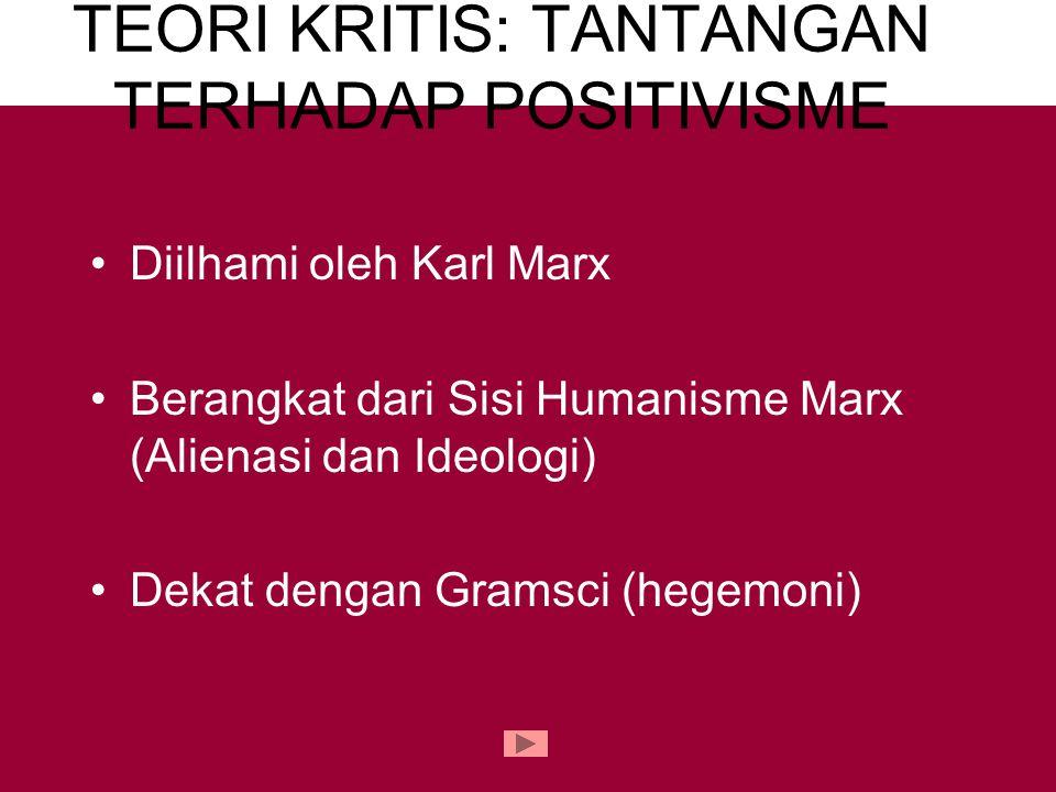 TEORI KRITIS: TANTANGAN TERHADAP POSITIVISME Diilhami oleh Karl Marx Berangkat dari Sisi Humanisme Marx (Alienasi dan Ideologi) Dekat dengan Gramsci (