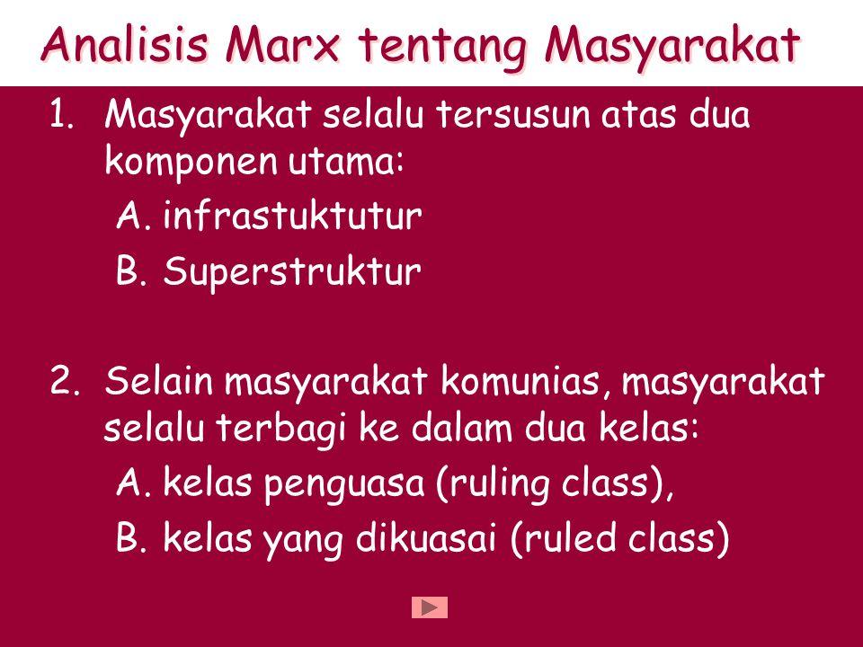 1.Masyarakat selalu tersusun atas dua komponen utama: A.infrastuktutur B.Superstruktur 2.Selain masyarakat komunias, masyarakat selalu terbagi ke dalam dua kelas: A.kelas penguasa (ruling class), B.kelas yang dikuasai (ruled class) Analisis Marx tentang Masyarakat