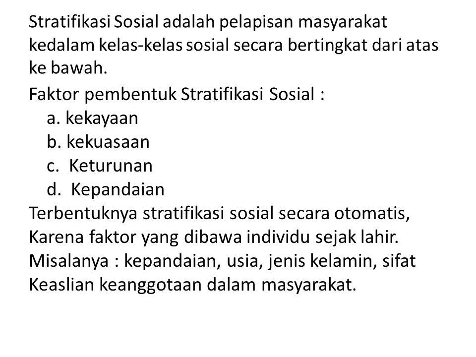 Stratifikasi Sosial adalah pelapisan masyarakat kedalam kelas-kelas sosial secara bertingkat dari atas ke bawah. Faktor pembentuk Stratifikasi Sosial