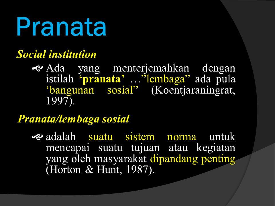 Pranata Social institution  Ada yang menterjemahkan dengan istilah 'pranata' … lembaga ada pula 'bangunan sosial (Koentjaraningrat, 1997).
