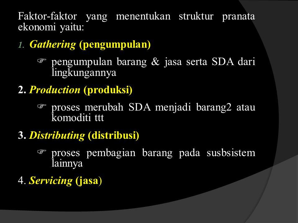 Faktor-faktor yang menentukan struktur pranata ekonomi yaitu: 1.